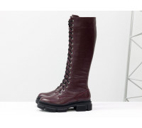 Высокие сапоги на шнуровке из натуральной кожи флотар бордового цвета, на тракторной зимней подошве, Коллекция Осень-Зима, М-2090-02