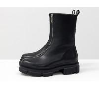 Высокие дизайнерские ботинки на молнии, из натуральной гладкой кожи черного цвета, на модной тракторной подошве, Новая коллекция от Gino Figini, Б-2101-01