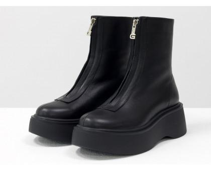 Стильные классические ботинки из натуральной кожи черного цвета на платформе, спереди украшены молнией, Новая коллекция от Gino Figini, Б-2103-01