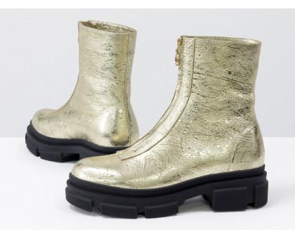 Стильные классические ботинки из натуральной кожи золотого цвета на тракторной подошве черного цвета, спереди украшены молнией, Новая коллекция от Gino Figini, Б-2103-05