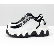Дизайнерские кроссовки от Gino Figini из натуральной кожи белого цвета с черными вставками, на пружинистой подошве черно-белого цвета, Т-2108-01