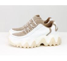 Эксклюзивные дизайнерские кроссовки от Gino Figini из натуральной кожи белого цвета с бежевыми вставками из замши, на пружинистой подошве белого цвета, Т-2108-02