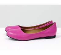 Летние легкие туфли - балетки из натуральной кожи малинового цвета, коллекция Весна-Лето от Джино Фиджини, Т-2110-01