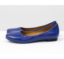 Летние легкие туфли - балетки из натуральной кожи флотар ярко-синего цвета, коллекция Весна-Лето от Джино Фиджини, Т-2110-03