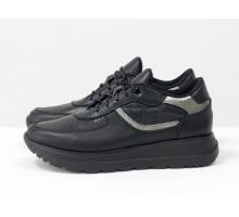 Базовые черные кроссовки из натуральной итальянской кожи, с перфорированными вставками, на легкой подошве, Новая коллекция от Gino Figini, Т-2124-02