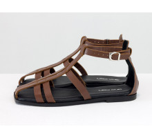 Кожаные босоножки гладиаторы коричневого цвета, на удобной подошве с небольшим каблуком и квадратным носиком,  С-2151-01