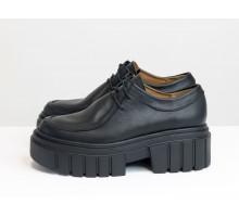 Стильные женские туфли на высокой ребристой подошве с протектором, из натуральной кожи черного цвета, на шнуровке, Т-2155-01