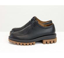 Стильные женские туфли из натуральной кожи черного цвета, на ребристой подошве с протектором и на шнуровке, Т-2155-02