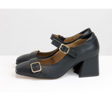 Классические черные туфли с ремешками, на обтяжном невысоком каблуке, выполнены из натуральной итальянской замши-велюр, Новая Коллекция от производителя Gino Figini, Т-2156-01