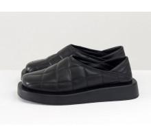 Стильные дизайнерские стеганые туфли, из натуральной кожи черно цвета, с мягкой пяткой, на подошве с выступающим кантом. Новая коллекция от Gino Figini, Т-2157-01
