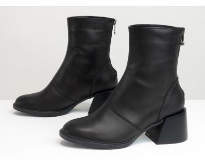 Классические черные ботинки, на невысоком каблуке, из натуральной итальянской кожи, Новая коллекция от Gino Figini,  Б-2159-01