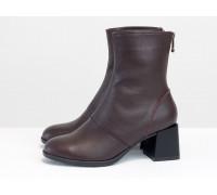 Классические бордовые ботинки, на невысоком каблуке, из натуральной итальянской кожи, Новая коллекция от Gino Figini,  Б-2159-02