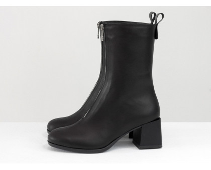 Классические черные ботинки, с молнией, на невысоком каблуке, из натуральной итальянской кожи, Новая коллекция от Gino Figini,  Б-2160-01