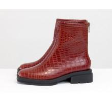 """Стильные женские ботинки из натуральной итальянской кожи """"янтарный крокодил"""", на утолщенной легкой подошве, с молнией на пятке, Б-2176-01"""