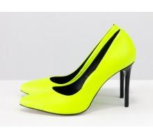 Женские туфли классического кроя, из итальянской неоновой кожи лимонного цвета, на каблуке шпилька, Новая дизайнерская коллекция от Gino Figini, Д-35-07
