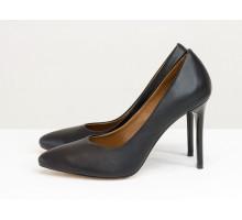 Женские туфли классического кроя, из итальянской кожи черного цвета, на каблуке шпилька, Новая дизайнерская коллекция от Gino Figini, Д-35-08