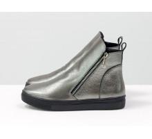 Спортивные женские ботинки на молниях, из натуральной кожи цвета серый никель, на черной прорезиненной подошве, коллекция Весна-Осень, Б-407-32