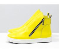 Весенние солнечные ботинки хайтопы из ярко-желтой кожи флотар с металлическими молниями по бокам, на яркой белой подошве, Б-407-27