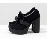 Туфли из натуральной замши черного цвета с бантиком из кожи, на высоком устойчивом каблуке и платформе, Новая коллекция от Джино Фиджини, Т-40-10