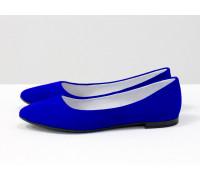 Балетки из нежной итальянской натуральной замши-велюр ярко-синего цвета, Коллекция Весна-Лето от Джино Фиджини, Т-413-10