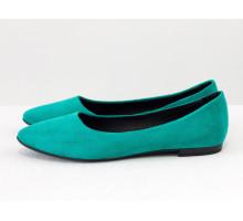 Классические туфли балетки из натурального итальянской замша-велюр бирюзового цвета с черным кожаным подкладом, на облегченной черной подошве, Т-413-50