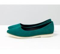 Классические туфли балетки из натурального итальянской замша бирюзового цвета на облегченной белой подошве, Т-413-54