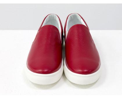 Слиппоны из натуральной кожи ярко красного цвета, коллекция весна-лето от Джино Фиджини, Б-442-17