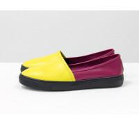 Красивые яркие облегченные мокасины из натуральной кожи желтого, ярко-розового и золотого цветов на практичной черной подошве, Б-442/2-06