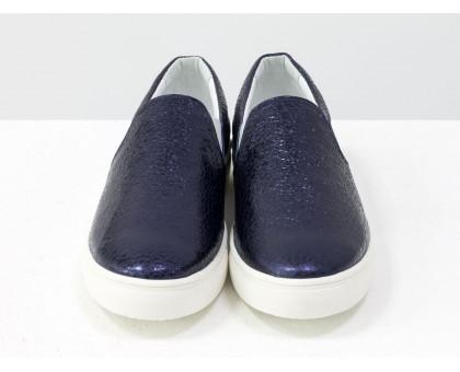 Мокасины из натуральной блестящей кожи синего цвета на прорезиненной белой подошве, Б-442-34