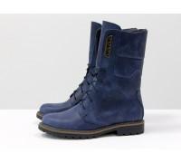 Высокие женские Ботинки из натуральной матовой кожи темно-синего цвета, на шнурках и на утолщенной подошве, Б-44-02