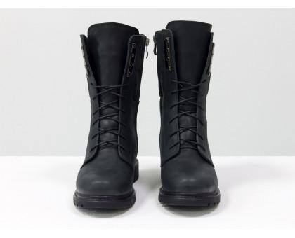 Ботинки из натуральной матовой кожи черного цвета, на шнурке и на утолщенной подошве черного цвета с ярким кантом, Коллекция Осень-Зима, Б-44-08