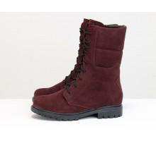 Ботинки на шнурках из натуральной замши бордового цвета, на утолщенной подошве с протектором, Б-44-18