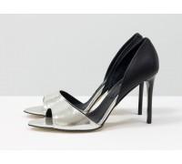 Босоножки из кожи серебряного и черного цвета на каблуке-шпилька, коллекция Весна-Лето, С-704-01