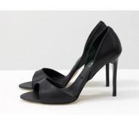 Босоножки из натуральной кожи черного цвета на каблуке - шпилька, Коллекция Весна-Лето, С-704-04