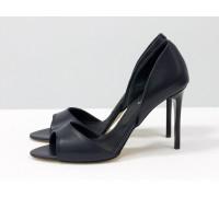 Босоножки из натуральной кожи темно-синего цвета на каблуке - шпилька, Коллекция Весна-Лето, С-704-30
