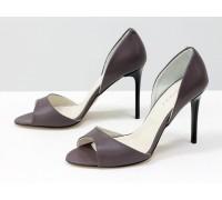 Босоножки из натуральной кожи грязно-сиреневого цвета на каблуке-шпилька, Новая коллекция лето-весна от Джино Фиджини, С-704-47