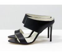 Мюли с открытым носиком из натуральной кожи черного цвета на каблуке-шпилька, С-705-02