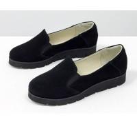 Облегченные туфли из натурального замша черного цвета на утолщенной черной подошве, Коллекция Весна-Осень, Т-83-01