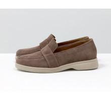 Последняя пара! Классические женские замшевые туфли лоферы цвета капучино, на утолщенной подошве в тон, Т-2051-02 акция