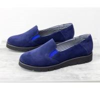 Облегченные туфли из натуральной замши синего цвета на черной подошве, Коллекция Весна-Осень, Т-83-03