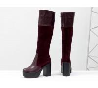 Высокие сапоги из натуральной  кожи и замши темно-бордового цвета на молнии  на устойчивом каблуке коллекция осень-зима от Джино Фиджини, М-16076-03