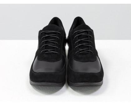 Стильные черные кеды из натуральной замши и кожи, на облегченной подошве, Т-SNEG-07