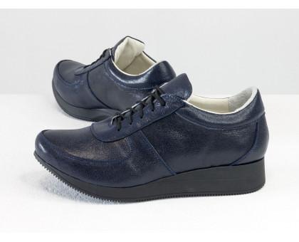 Стильные кеды из натуральной кожи синего цвета с блеском, на облегченной черной подошве, Т-SNEG-10