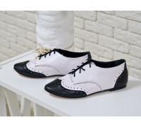 Туфли-Оксфорды из натуральной  кожи черного и белого цвета, Коллекция Весна-Лето, Т-415-02