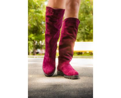 Женские сапоги в стиле UGG из натурального замша бордового цвета, осень-зима коллекция. М-16080-05