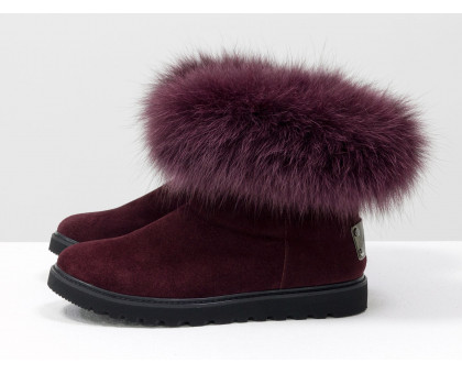 Женские ботиночки в стиле UGG из натуральной замши бордового цвета и натурального шикарного меха песца, коллекция осень-зима, Б-17113-02