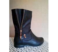 Ботинки женские из натуральной кожи черного цвета, Коллекция осень-зима, Б-150