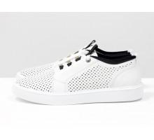 Летние мужские туфли на шнуровке, из натуральной белой кожи с перфорацией, на белой подошве Т-М12-02