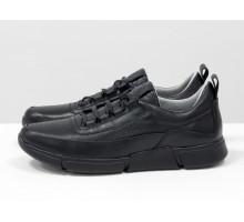 Черные мужские кожаные туфли в спортивном стиле с перфорацией, на шнуровке, на черной подошве и с облегченным подкладом, Т-М2-02