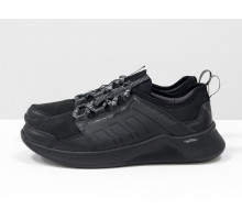 Черные мужские кроссовки, из натуральной кожи и замши с перфорацией, с подкладом из облегченной дышащей спортивной ткани, на черной подошве, Т-М7-04